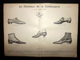 Le Moniteur de la Cordonnerie 1894 Rare Antique Shoe Design Print 07